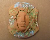 Ornate face protection goddesses priestess beading change altar collage spirit doll magic strength guardian the face Diane Briegleb 294