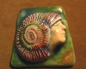 Handmade ceramic spiral seashell maiden priestess beading jewelry altar purse doll magic strength guardian the face Diane Briegleb 416
