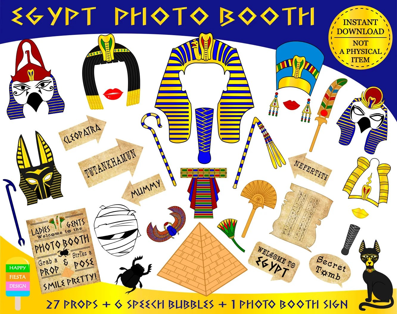 Printable Egypt Photo Booth Props Ancient Egypt Props
