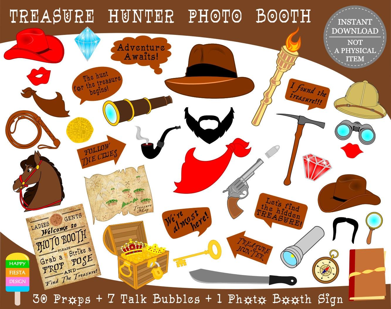 Printable Treasure Hunter Photo Booth Props Printable