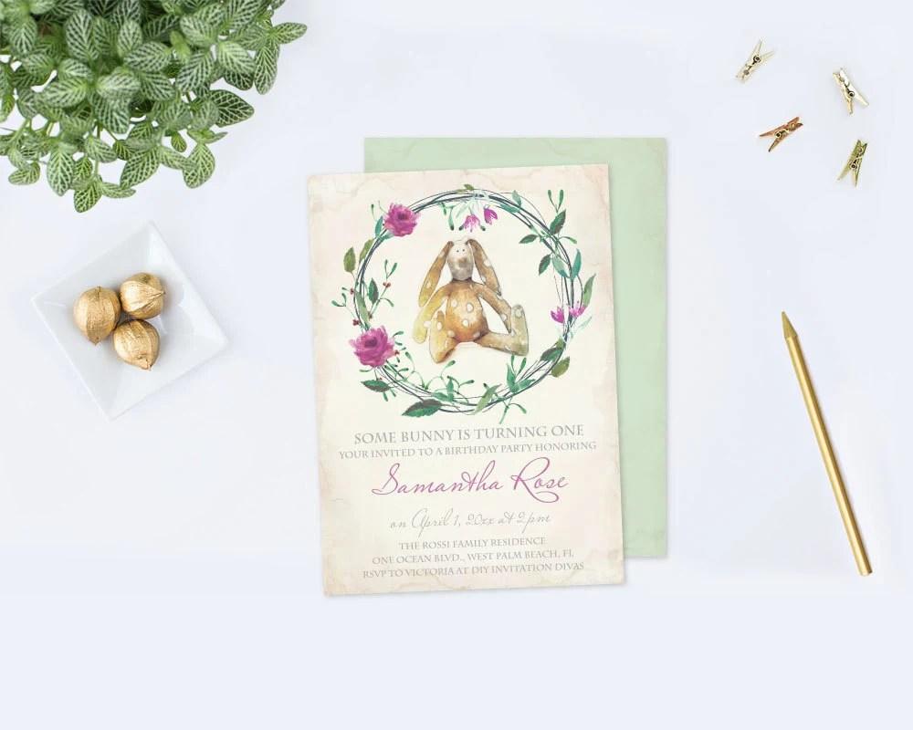 bunny birthday invitation pdf edit now