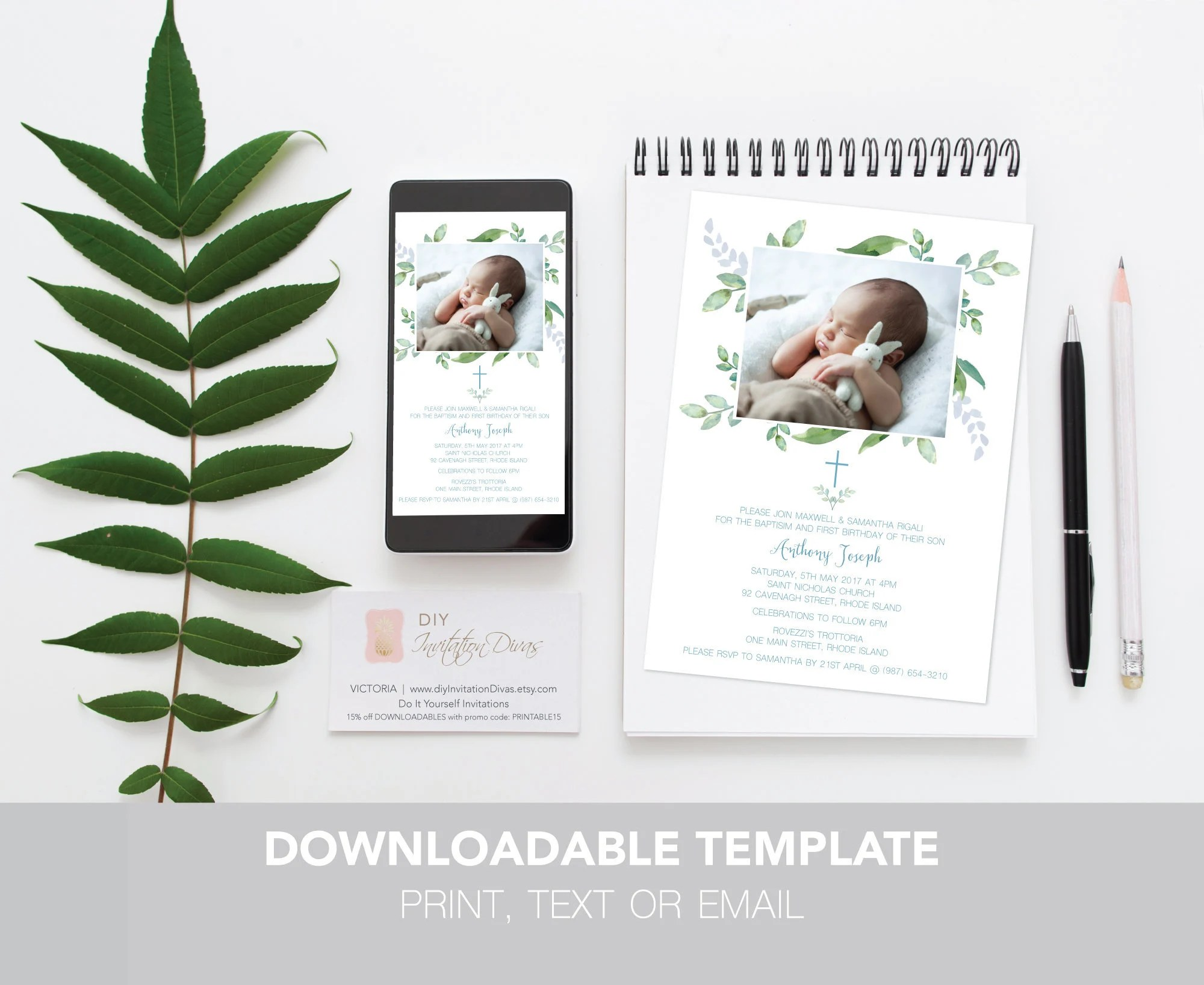 instant download baptism and birthday