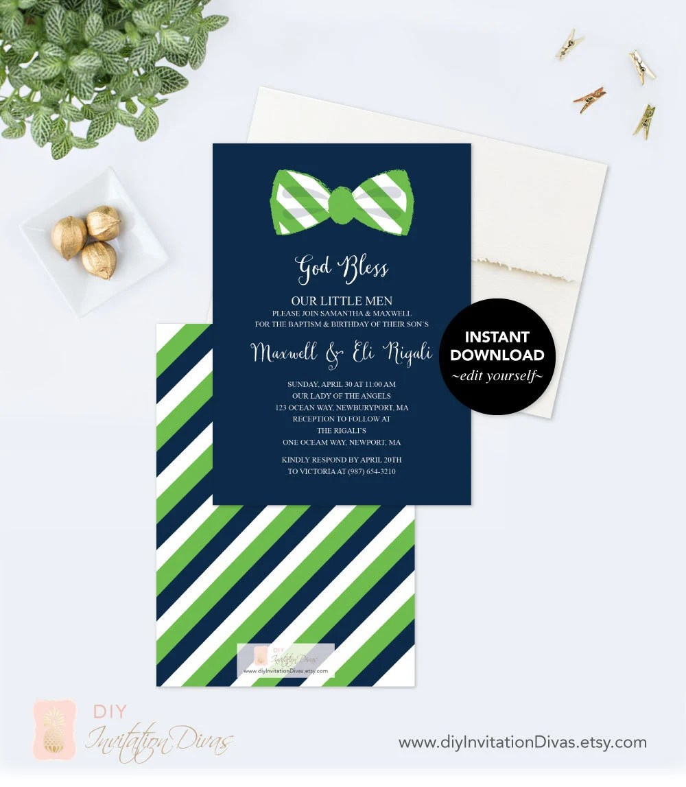 1st birthday invitation bow tie boy