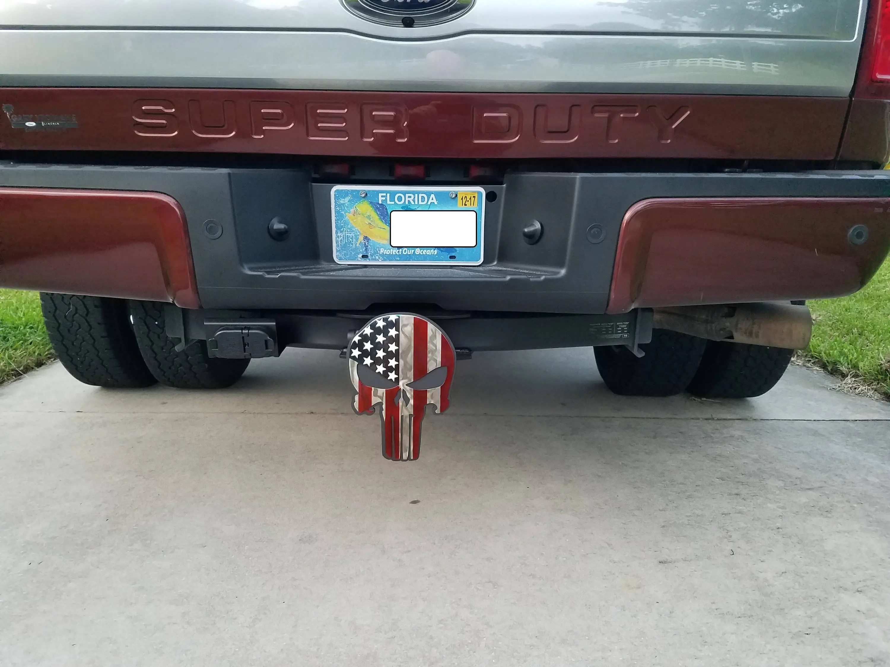 American Flag, Punisher Trailer Hitch Cover, Hitch Plug