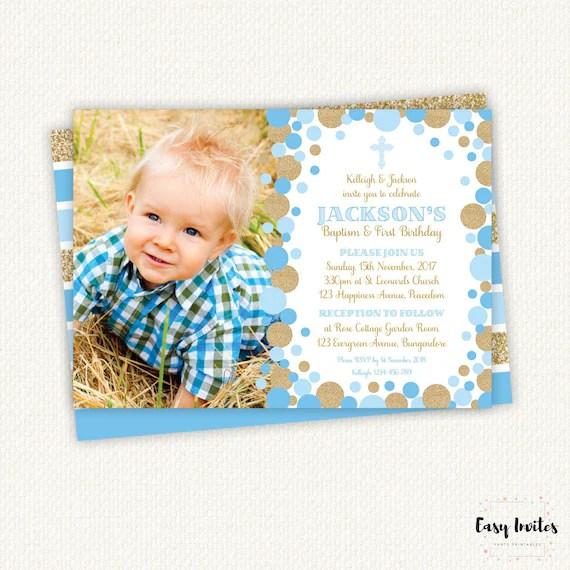 baptism and birthday invitation 1st birthday invitation boy baptism invitation boy christening invitation christening invitation 1st