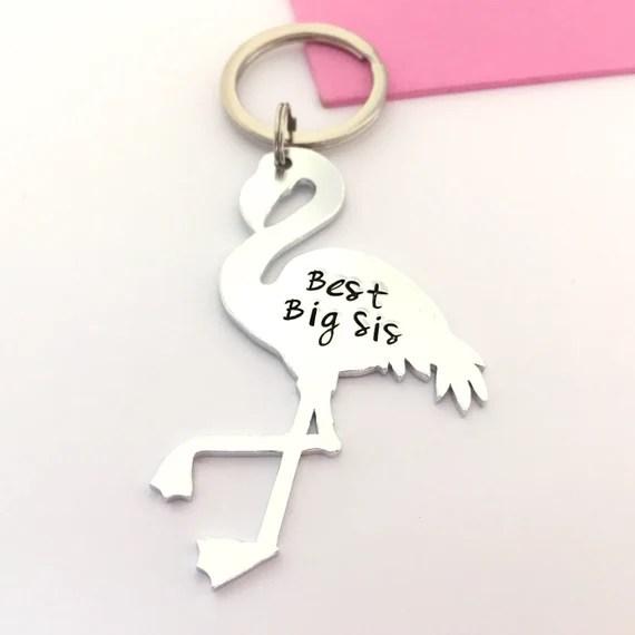 Personalised Flamingo Keyring