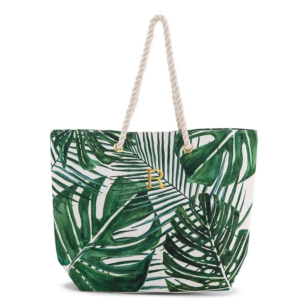 Palm Leaf Tote Bag  Personalized Tote Bag  Bride Gift  image 1