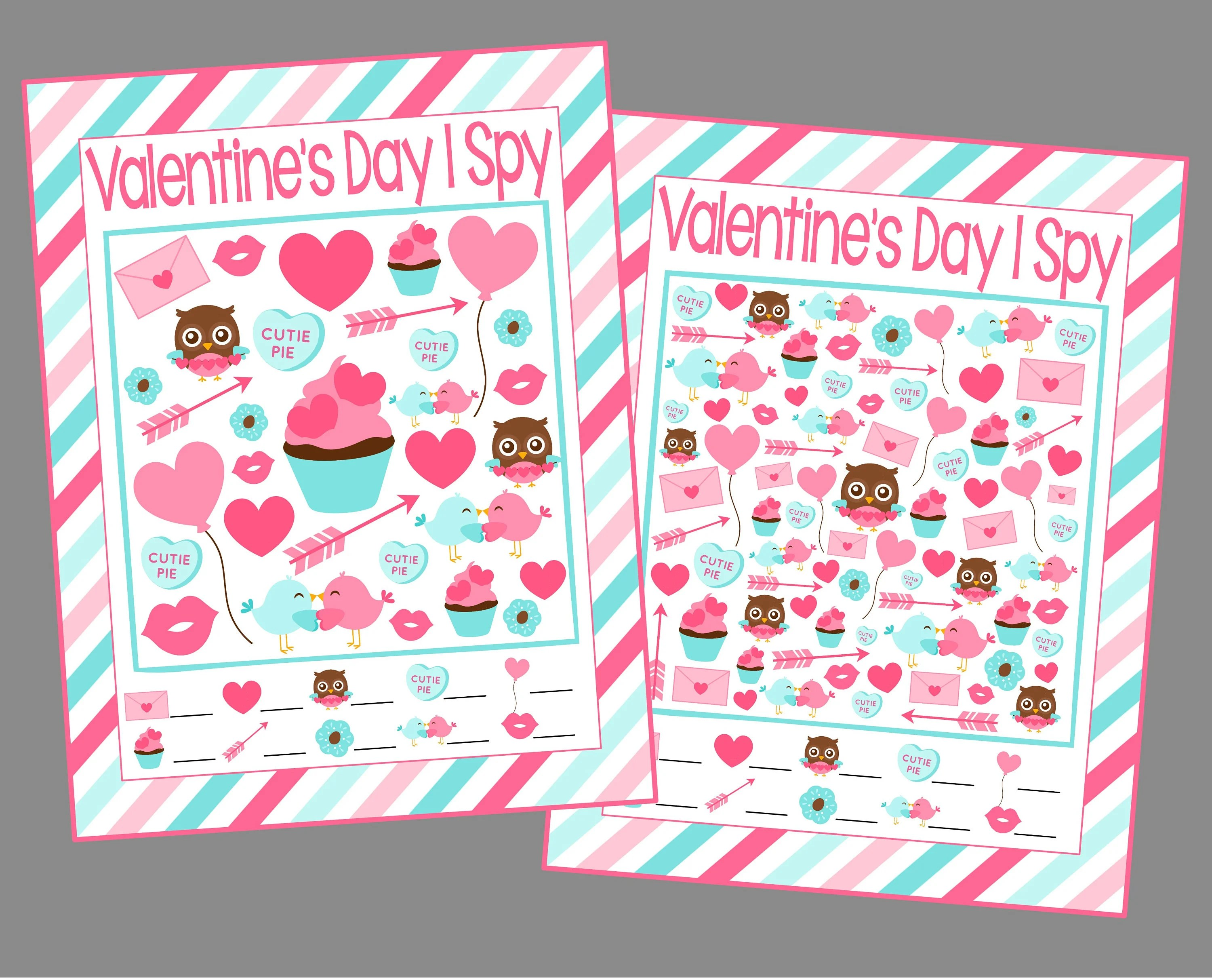 Valentine S Day I Spy Printable Games 5 Different Sheets