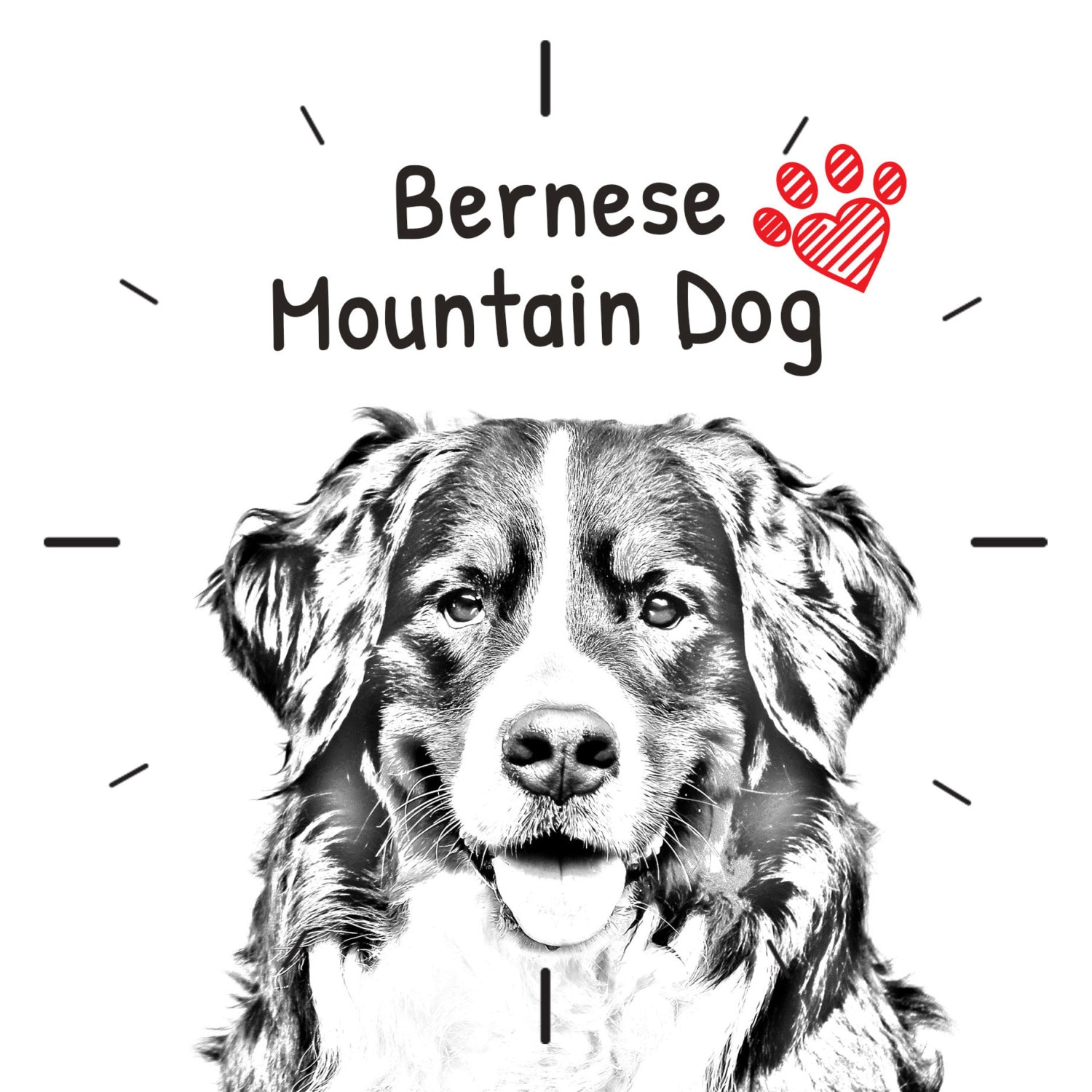 Bernese Mountain Dog Free Standing Mdf Floor Clock With