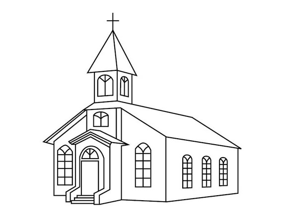 Church Coloring Page Etsy