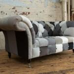 Unique British Handmade 2 Seater Patchwork Chesterfield Sofa Multi Greys