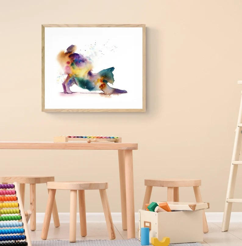 Cat Gicl U00e9e Print Cat Artwork For Kids Room Wall Decor Stretching Cat Art Print Rainbow Colors Cat In Action Watercolor Painting Prints Art Collectibles Vadel Com