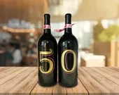 50th birthday -wine bottle guest book  - Party Supplies - Wine Bottle Decor - Wine Bottle Centerpieces - Gold
