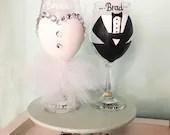 Bride and Groom Wine Glas...