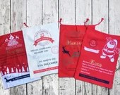 Santa Clause Gift Bags - Santa Bags - Canvas Gift Bags - Personalized Gifting from Santa - Sants Red Bag