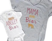 Mama Bear and Baby Bear Matching Tees - Personalized Maka Bear Shirts - Baby Shower Gifts - Custom Clothing - New Mom - Baby Bear Onsies