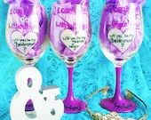 Bridesmaid Wine Glasses - I cant say I do with out you- Purple and Silver Wine Glass. Bridesmaid gifts. maid of honor gifts. bridal party.