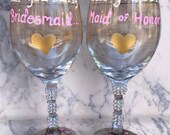 Be My Bridesmaid Wine Glass - Bridesmaid and Maid of Honor Gifts! Rhinestones, Pink and Gold Wedding colors!