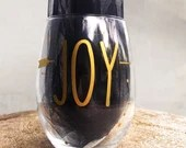 Joy - merlot Wine Glass gold and arrow wine glasses - Custom Quote vinyl wine glasses