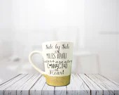 Side by Side or Miles Apart Sister are Always Connected at Heart - Sisters Coffee Mug - Gift for long distance sisters! Glitter Dipped Mugs.