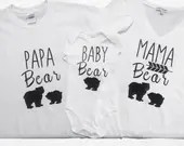 Papa Bear , Daddy Bear, Mama Bear and Baby Bear Twinning Tops and Tees for Family Pictures.
