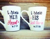 I stole his heart she stole my last name coffee mugs for couples - Engaged - Proposal Gifts - Wedding Coffee Mugs - Gifts for newlyweds