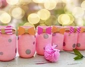 Its A Girl - Mason Jars in Pink & Grey - Shabby Chic Baby Shower Decoration. Personalized Party Decor.
