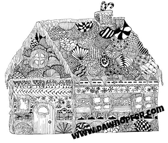 Gingerbread House Coloring Page Zen Drawing Coloring Book Etsy