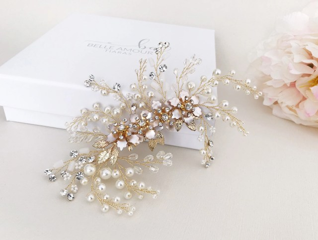 large bridal clip flower hair comb for wedding bridal hairpiece brides hair accessories crystal hair comb brides headpiece pearl hair cli