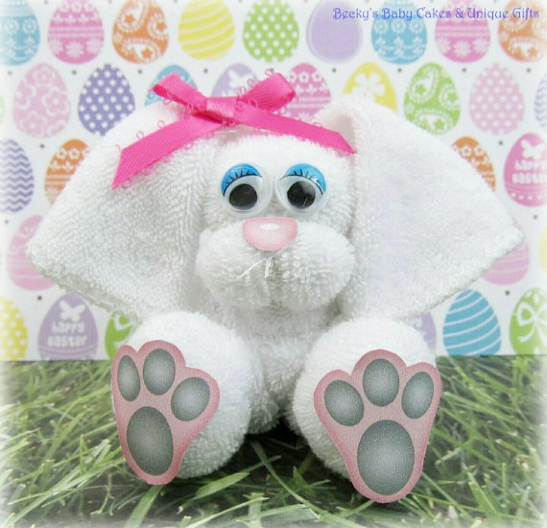 Washcloth Bunny Easket Basket Filler Baby Shower Favors Bunny Baby Shower Easter Basket Easter Decoration Bunny Washcloth Animal