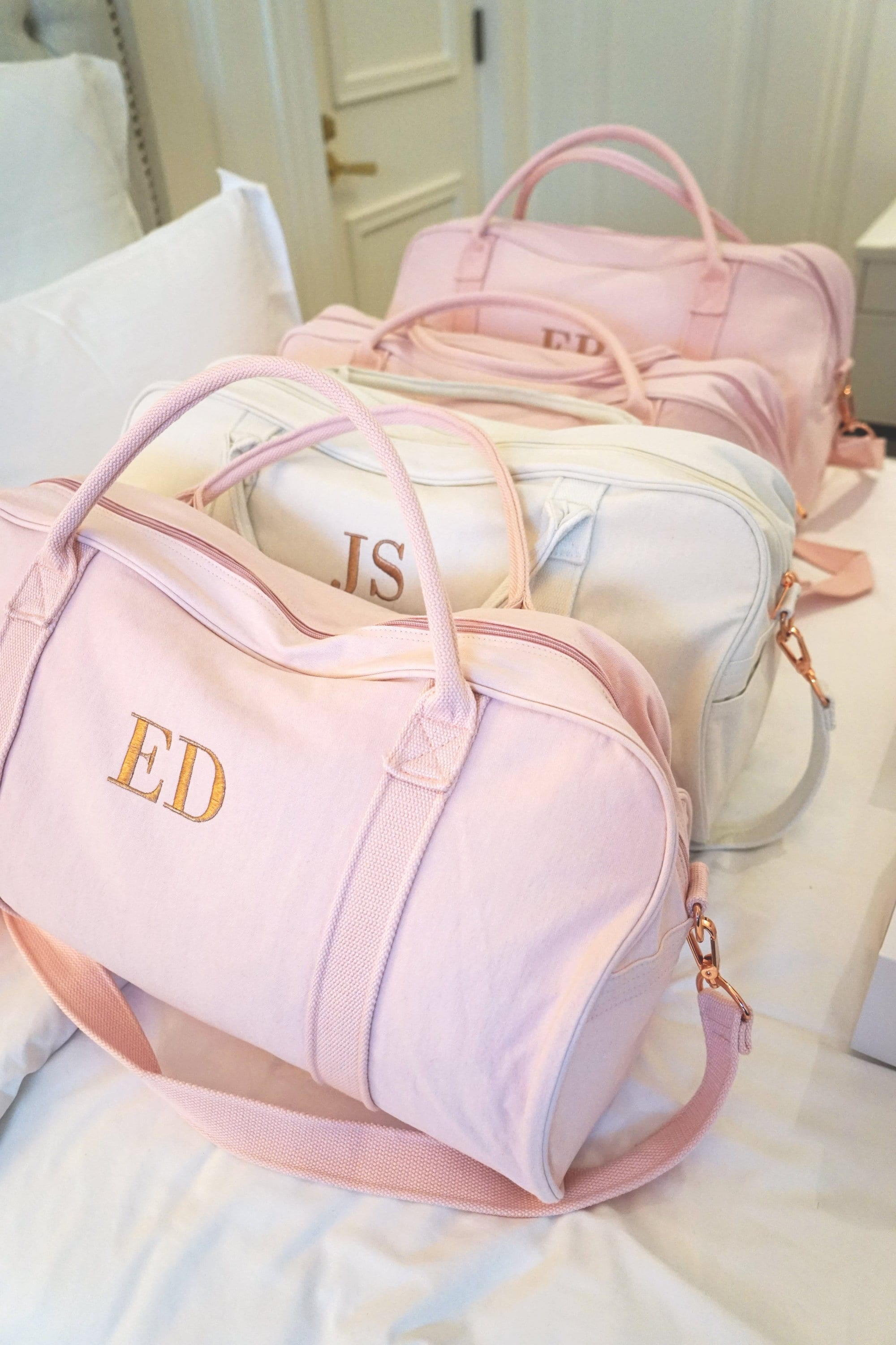 Personalised Bag //Duffle Bag //Bridesmaid Gifts //Monogrammed Soft Pink