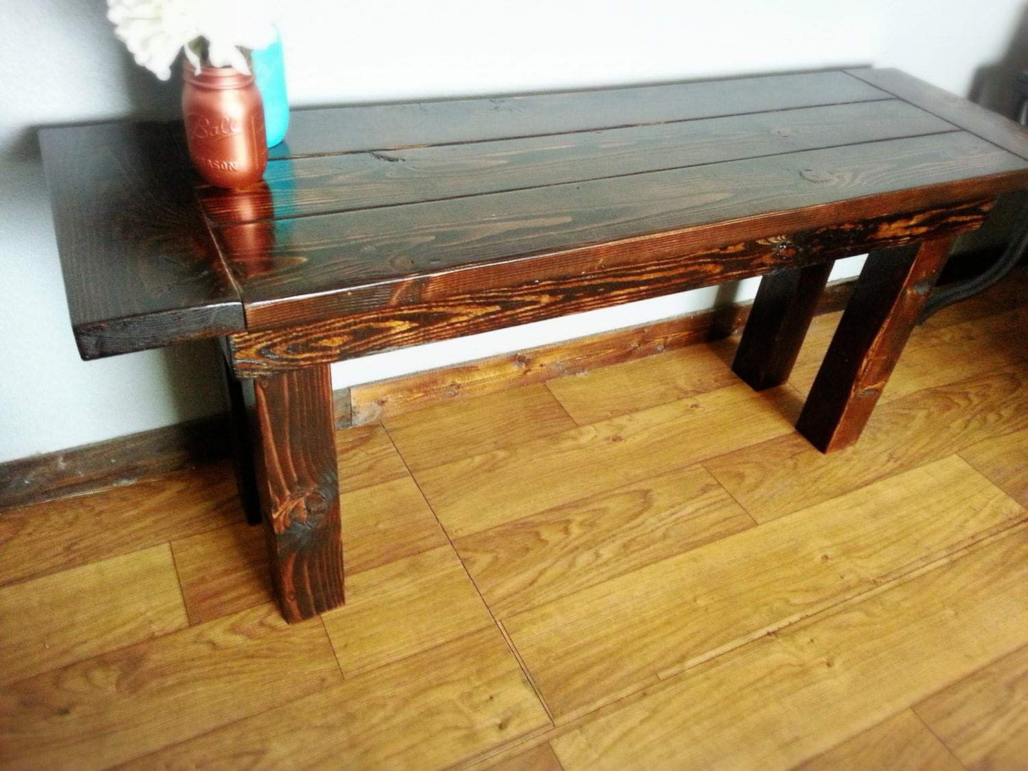 Rustic Bench Solid Wood Farmhouse Style Bench Classic