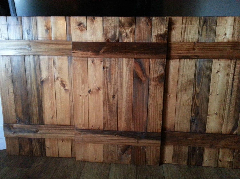 Rustic Wood Queen Headboard Shutter Set Decorative