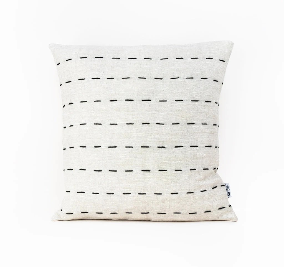 linen euro sham 26x26 pillow cover black and beige scandinavian cushion cover modern throw pillow covers hygge decor pillow covers stripes