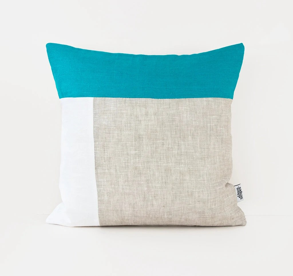 color block pillow covers 20x20 turquoise linen pillow case teal cushion cover uk mid century modern pillow covers scandinavian pillow