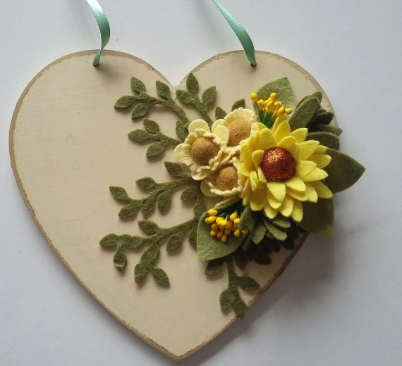 Decorative Heart with Felt Flowers
