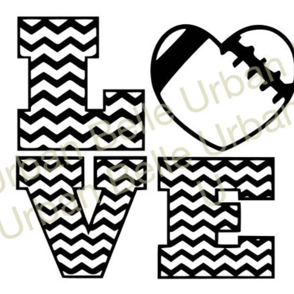 Download Chevron Love Football .svg . Dxf cutting file vinyl paper