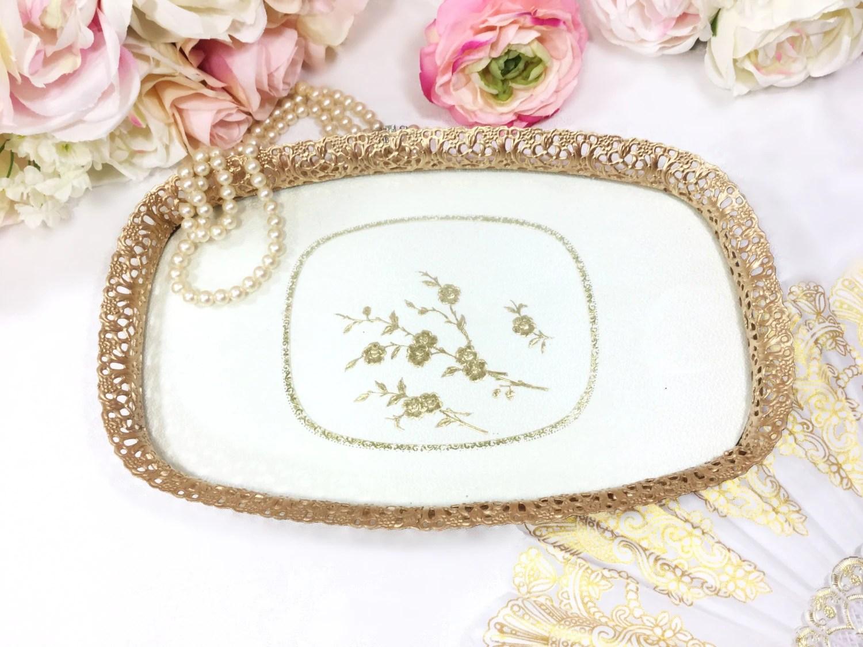Vintage Gold Filigree Vanity Dresser Tray, Boudoir, Glass