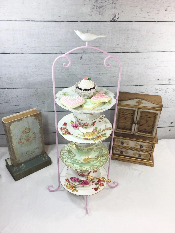 tier metal tea cup display stand