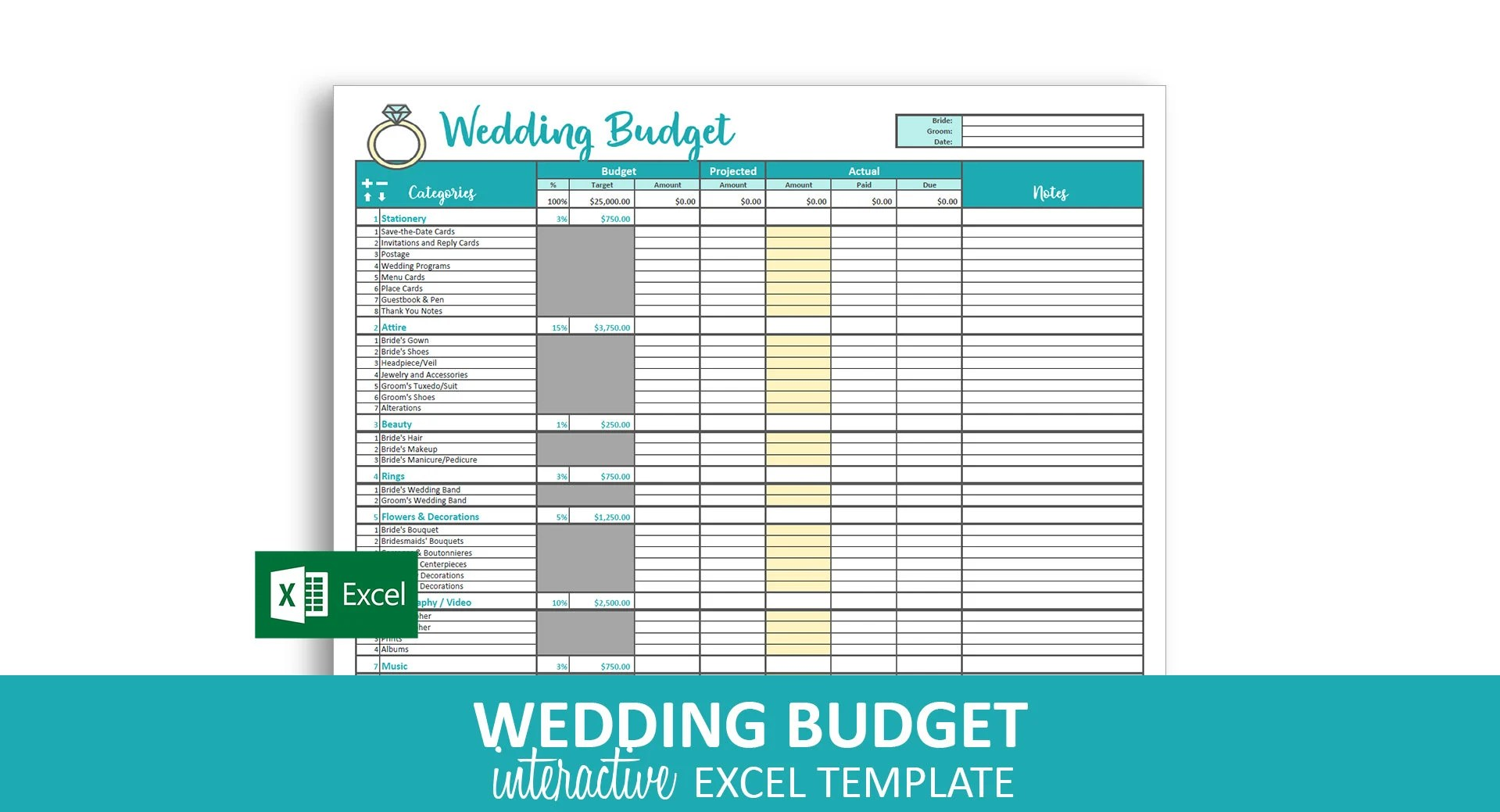 Savvy Wedding Budget Excel Template Editable Printable