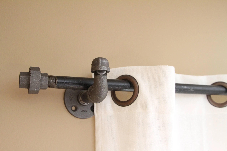 iron pipe shower rod etsy