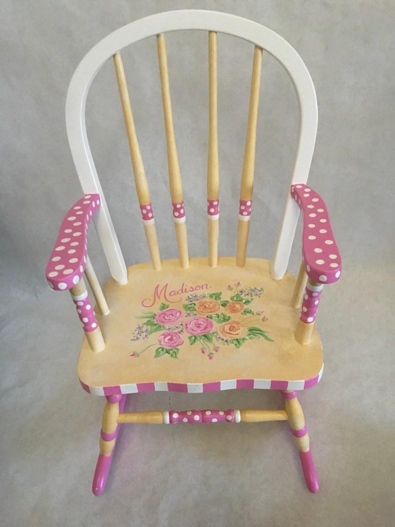 Bow Back Flower Rocking Chair Kids Rocker Hand Painted Rocking Chair Children S Hand Painted Furniture