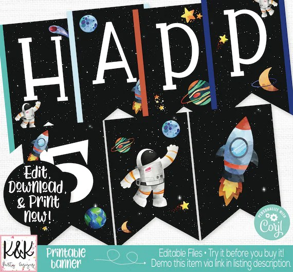 outer space birthday banner outer