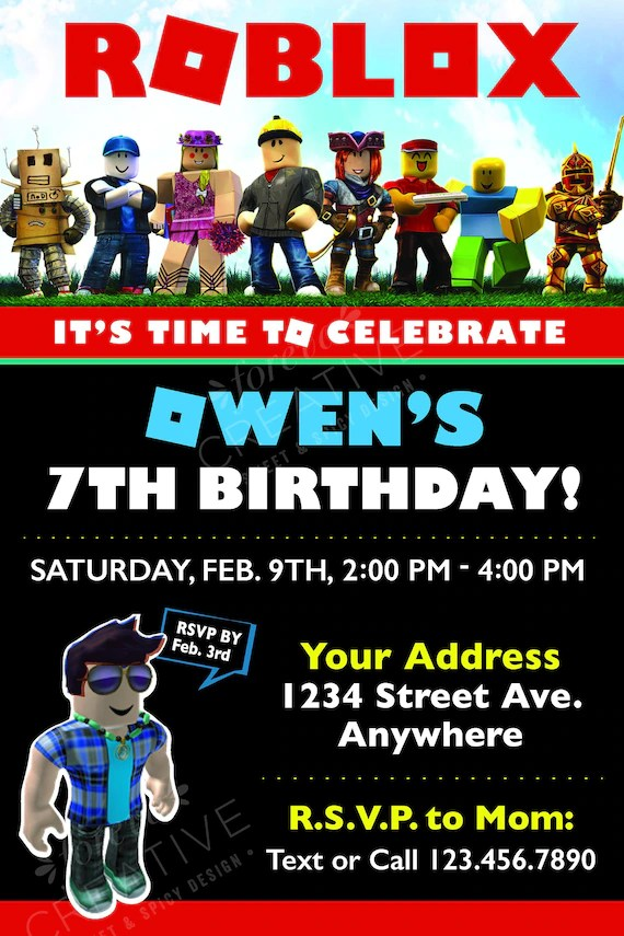 roblox birthday party invitation digital download easy to print at home red black roblox inspired