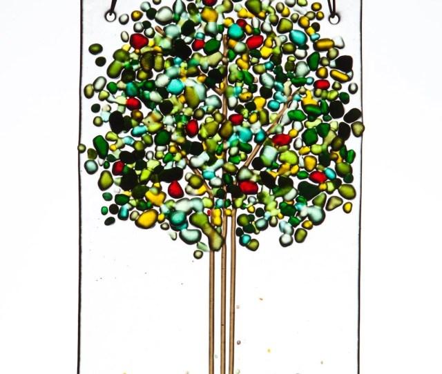 Summer Tree With Apples Cherries Handmade Fused Glass Suncatcher