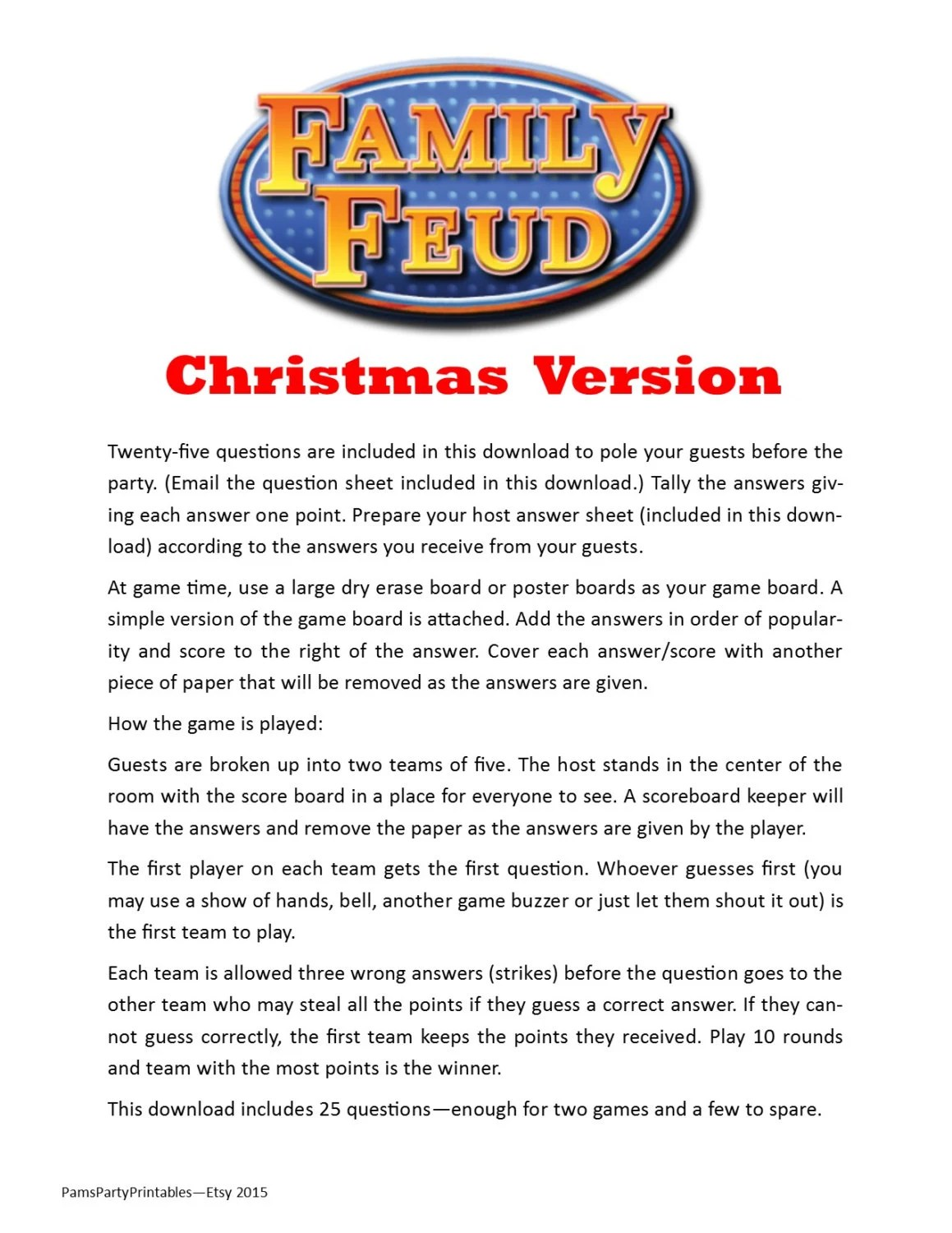 photo about Family Feud Questions and Answers Printable known as loved ones feud issues and remedies printable publications the
