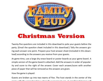 christmas family feud questions and answers printable