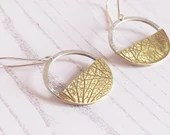 Sterling silver dangly circle and half moon earrings, recycled eco silver. hydrangea petal/leaf imprint