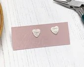 Recycled sterling silver heart stud earrings with hydrangea petal pattern, leaf imprint.