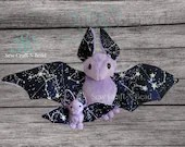 Made to Order Light Purple GLOW in the DARK Galaxy Constellation Bat Plush Scented or No Scent